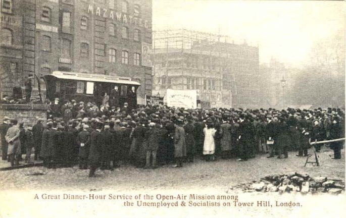 Dinner-hour service at Tower Hill London c1900